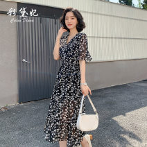 Dress Summer 2020 black S M L XL XXL Mid length dress singleton  Short sleeve commute V-neck High waist Decor Socket 25-29 years old Caidaifei Korean version L1445RX-1 More than 95% polyester fiber Polyester 100%