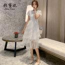 Dress Spring 2020 S M L XL Mid length dress singleton  Short sleeve commute Crew neck High waist 25-29 years old Caidaifei Korean version ZBL0046 31% (inclusive) - 50% (inclusive) nylon Viscose (viscose) 55.4% polyamide (nylon) 44.6%