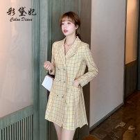 Dress Summer 2020 Beige yellow S M L XL XXL Short skirt singleton  Long sleeves commute High waist lattice 25-29 years old Caidaifei Korean version L1377RX More than 95% polyester fiber Polyester 95.9% polyurethane elastic fiber (spandex) 4.1%