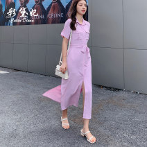 Dress Summer 2020 Pink Purple S M L XL Mid length dress singleton  elbow sleeve commute Polo collar High waist Solid color Single breasted other routine Others 25-29 years old Caidaifei Korean version GDD005-1 More than 95% other polyester fiber Polyester 100%