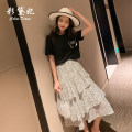 skirt Spring 2020 S M L Black and white Mid length dress commute High waist ZB0007 More than 95% Caidaifei polyester fiber Korean version Polyester 100%