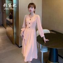 Dress Autumn 2020 Skin pink rust red green S M L XL XXL Mid length dress singleton  Long sleeves commute V-neck High waist Solid color Socket Princess Dress Others 25-29 years old Caidaifei Korean version L1365RX More than 95% polyester fiber Polyester 100%