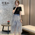 skirt Spring 2020 S M L Black grey Mid length dress commute High waist Cake skirt 25-29 years old ZBL0014 More than 95% Caidaifei polyester fiber Korean version Polyester 100%