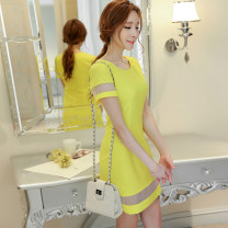 Dress Spring 2020 Bright yellow Navy S M L XL XXL Short skirt singleton  Short sleeve commute Crew neck High waist Solid color Socket other other Others 25-29 years old Caidaifei Korean version Splicing KKK25 More than 95% knitting polyester fiber
