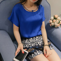Lace / Chiffon Spring 2020 Royal blue purple red S M L XL Short sleeve commute Socket singleton  Regular other Solid color other 25-29 years old Caidaifei Korean version Polyester 100%