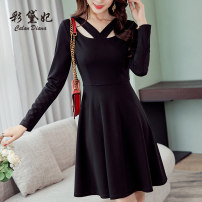 Dress Spring 2020 Black light blue S M L XL XXL Short skirt singleton  Long sleeves commute High waist Solid color Socket Others 25-29 years old Caidaifei Korean version L671RX More than 95% polyester fiber Polyester fiber 94.9% polyurethane elastic fiber (spandex) 5.1%