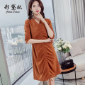 Dress Spring 2020 Royal Blue Caramel S M L XL XXL Middle-skirt singleton  three quarter sleeve commute High waist Solid color Socket Others 25-29 years old Caidaifei Korean version L657RX More than 95% polyester fiber Polyester fiber 94.9% polyurethane elastic fiber (spandex) 5.1%