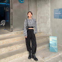 Women's large Spring 2021 Jacket, overalls Large, 3XL, 4XL, large Other oversize styles Two piece set commute easy moderate Long sleeves Solid color, animal pattern Korean version Crew neck routine Three dimensional cutting routine T6019+K6021 Mr. Zhang 25-29 years old Button trousers