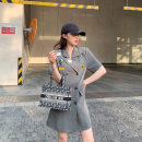 Women's large Summer 2021 grey Large, 3XL, 4XL, large Dress singleton  commute Self cultivation moderate Socket Short sleeve Solid color Korean version Polo collar Three dimensional cutting routine L6129 Mr. Zhang 25-29 years old Button Medium length