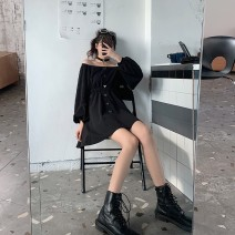 Women's large Spring 2021 black Large, 3XL, 4XL, large Dress singleton  commute Self cultivation moderate Cardigan Long sleeves Solid color Korean version One word collar Three dimensional cutting puff sleeve Mr. Zhang 25-29 years old Button Medium length