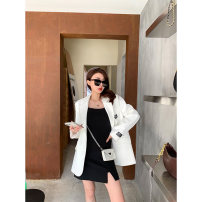 Women's large Spring 2021 Suspender skirt, suit coat Large, 3XL, 4XL, large Other oversize styles Two piece set commute Self cultivation moderate Cardigan Long sleeves Korean version Polo collar routine Three dimensional cutting routine W6060+L6063 Mr. Zhang 25-29 years old Medium length other