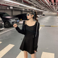 Women's large Spring 2021 black Large, 3XL, 4XL, large Other oversize styles Two piece set commute easy moderate Cardigan Long sleeves Solid color Korean version Hood routine Three dimensional cutting routine T3909 Mr. Zhang 25-29 years old Medium length