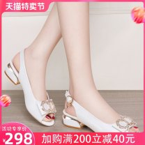 Sandals 35 36 37 38 39 40 B2389309 white / heel height 4.1cm b2389309 Pink / heel height 4.1cm PU AI tong'er Fish mouth Thick heel Middle heel (3-5cm) Summer 2021 Flat buckle leisure time Solid color Adhesive shoes Youth (18-40 years old) TPU daily Back space Low Gang Hollow PU PU ATR2389 Shaving