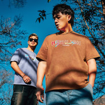 T-shirt Youth fashion Blue brown routine 2XL 3XL 1XL 4XL 5XL 6XL Tideword / Chaoyan Short sleeve Crew neck easy Other leisure summer T200-A163 Cotton 100% Large size routine Basic public Summer 2020 printing cotton Hanging dyeing More than 95%
