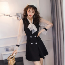 Dress Autumn of 2019 White sleeves S,M,L,XL,2XL Short skirt singleton  Long sleeves square neck High waist Solid color zipper Big swing routine Others 18-24 years old Other / other 51% (inclusive) - 70% (inclusive) Lace polyester fiber