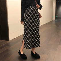 skirt Winter of 2019 L,XL,2XL,3XL,4XL black Mid length dress commute High waist A-line skirt lattice Type A 71% (inclusive) - 80% (inclusive) other polyester fiber Three dimensional decoration Korean version