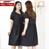 Women's large Summer 2020 black 4XL 6XL 8XL 10XL Dress singleton  commute Self cultivation moderate Socket Short sleeve Solid color Korean version V-neck cotton Three dimensional cutting routine 20325C 25-29 years old Button 91% (inclusive) - 95% (inclusive) Medium length