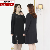 Women's large Spring 2021 black 4XL is suitable for 115cm (recommended 160-180kg) 6xl is suitable for 125cm (recommended 180-220kg) 8xl is suitable for 135cm (recommended 220-240kg) 10xl is suitable for 145cm (recommended 240-280kg) Dress singleton  commute easy moderate Socket Long sleeves Crew neck