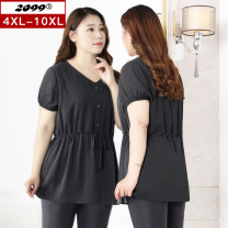 Women's large Summer 2020 black 4XL 5XL 6XL 7XL 8XL 9XL 10XL T-shirt singleton  commute moderate Socket Short sleeve Solid color Korean version V-neck routine polyester Three dimensional cutting routine 20002T 25-29 years old Button 96% and above Polyester 100% Pure e-commerce (online only)