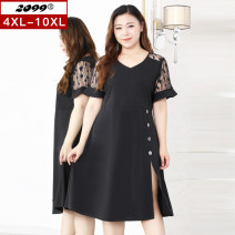 Women's large Summer 2020 black 4XL 6XL 8XL 10XL Dress singleton  commute Self cultivation moderate Socket Short sleeve Solid color Korean version V-neck Three dimensional cutting pagoda sleeve 20361C 25-29 years old Lace stitching 51% (inclusive) - 70% (inclusive) Medium length Hollowing out