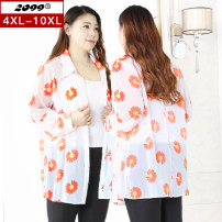 Women's large Summer 2020 white 4XL 6XL 8XL 10XL Jacket / jacket singleton  commute easy thin Cardigan Long sleeves Plants and flowers Korean version square neck routine polyester Three dimensional cutting routine 20058T 25-29 years old Button 96% and above Polyester 100%