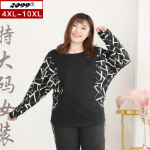 Women's large Spring 2021 black 4XL is suitable for 115cm (recommended 160-180kg) 6xl is suitable for 125cm (recommended 180-220kg) 8xl is suitable for 135cm (recommended 220-240kg) 10xl is suitable for 145cm (recommended 240-280kg) T-shirt singleton  commute easy moderate Socket Long sleeves stripe