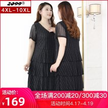 Women's large Summer 2020 black 4XL 6XL 8XL 10XL Dress singleton  commute Self cultivation moderate Socket Short sleeve stripe Korean version V-neck Polyester nylon Three dimensional cutting routine 20320C 25-29 years old 96% and above longuette Pure e-commerce (online only) Cake skirt