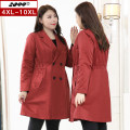 Women's large Spring 2020 Red and black 4XL 5XL 6XL 7XL 8XL 9XL 10XL Windbreaker singleton  commute Self cultivation moderate Cardigan Long sleeves Solid color Korean version Medium length Three dimensional cutting routine 59178T 25-29 years old pocket 96% and above Polyester 100%