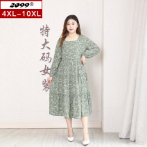 Women's large Spring 2021 green Dress singleton  commute easy moderate Socket Long sleeves Plants and flowers Korean version One word collar polyester Three dimensional cutting routine 20460C 25-29 years old 96% and above longuette Polyester 100% Pure e-commerce (online only)
