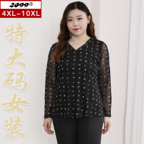 Women's large Autumn 2020 black 4XL 6XL 8XL 10XL T-shirt singleton  commute Self cultivation moderate Socket Long sleeves letter Korean version V-neck routine nylon Three dimensional cutting routine 25-29 years old Button 91% (inclusive) - 95% (inclusive) Pure e-commerce (online only)