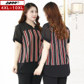 Women's large Summer 2020 black 4XL 5XL 6XL 7XL 8XL 9XL 10XL T-shirt singleton  commute Self cultivation moderate Socket Short sleeve stripe Korean version V-neck routine polyester Three dimensional cutting routine 20053T 25-29 years old Asymmetry 96% and above Polyester 100%
