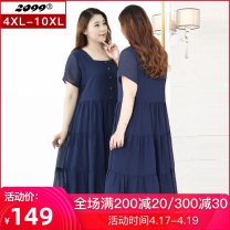 Women's large Summer 2020 blue 4XL 5XL 6XL 7XL 8XL 9XL 10XL Dress singleton  commute Self cultivation moderate Socket Short sleeve Solid color Korean version One word collar polyester Three dimensional cutting routine 20317C 25-29 years old fungus 96% and above longuette Polyester 100%