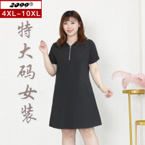 Women's large Summer 2021 black 4XL is suitable for 115cm (recommended 160-180kg) 6xl is suitable for 125cm (recommended 180-220kg) 8xl is suitable for 135cm (recommended 220-240kg) 10xl is suitable for 145cm (recommended 240-280kg) Dress singleton  commute Self cultivation moderate Socket Hood