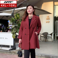 Women's large Spring 2021 Black brick red Windbreaker singleton  commute Self cultivation moderate Cardigan Long sleeves Solid color Korean version Medium length polyester Three dimensional cutting routine 40-49 years old Button 96% and above Polyester 100% Pure e-commerce (online only)