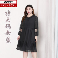 Women's large Spring 2021 black Dress singleton  commute easy moderate Socket Long sleeves Solid color Korean version V-neck polyester Three dimensional cutting routine 20461C 25-29 years old Lace stitching 96% and above Medium length Polyester 100% Pure e-commerce (online only) Hollowing out