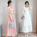 Dress Spring 2021 White, pink, black, grayish blue M,L,XL,2XL longuette singleton  Long sleeves commute V-neck middle-waisted Decor Socket other routine Others 35-39 years old Korean version Lace