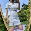 Dress Summer 2020 S, M Short skirt Two piece set Short sleeve commute tailored collar High waist lattice Single breasted A-line skirt routine Others 18-24 years old Type A Retro Button 31% (inclusive) - 50% (inclusive) other nylon