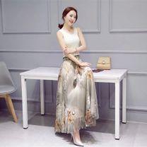 skirt Summer 2020 L (skirt length 90-93cm), m (skirt length 81-85cm) Mid length dress commute High waist A-line skirt Broken flowers Type A X28 More than 95% Chiffon polyester fiber Splicing ethnic style 351g / m ^ 2 (including) - 400g / m ^ 2 (including)