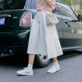 skirt Summer 2021 Average size White, black Mid length dress Versatile Natural waist Pleated skirt Solid color Type A 18-24 years old
