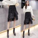 skirt Autumn 2020 S,M,L,XL,2XL Black, gray Mid length dress commute High waist Splicing style lattice Type A 18-24 years old SL 30% and below IEF / aiyifu Korean version