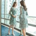 Dress Autumn of 2018 blue M L XL S Middle-skirt singleton  three quarter sleeve commute V-neck High waist Broken flowers Socket Ruffle Skirt pagoda sleeve Others 25-29 years old Type A Charm melody lady Tie print with bow and ruffle RGF1811875E-11 More than 95% Chiffon polyester fiber Polyester 100%