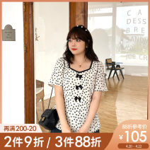 Women's large Summer 2021 Apricot apricot pre sale L XL 2XL 3XL 4XL 5XL shirt singleton  Sweet Self cultivation thin Socket Short sleeve Broken flowers square neck routine polyester Three dimensional cutting puff sleeve A0892 Caidoble / caidoble · CAI 25-29 years old Three dimensional decoration bow