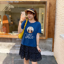 Women's large Summer 2020 Blue stock L XL 2XL 3XL 4XL 5XL Dress Fake two pieces Sweet easy moderate Conjoined Short sleeve Dot character Crew neck Cotton others Three dimensional cutting Q0898 Caidoble / caidoble · CAI 25-29 years old thread 91% (inclusive) - 95% (inclusive) Middle-skirt Ruffle Skirt