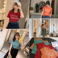 Women's large Summer 2020 Coffee jujube lake green orange jujube pre sale lake green pre sale coffee pre sale orange pre sale L XL 2XL 3XL 4XL 5XL T-shirt singleton  Sweet easy moderate Socket Short sleeve letter Crew neck routine Cotton others Three dimensional cutting Z0826 25-29 years old thread