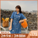 Women's large Summer 2021 Blue (shipment 4.22) blue pre-sale L XL 2XL 3XL 4XL 5XL Dress singleton  commute Self cultivation moderate Conjoined Short sleeve shape Korean version other cotton Three dimensional cutting routine Q21X001N Caidoble / caidoble · CAI 25-29 years old Button 96% and above