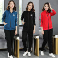 Women's large Autumn 2020 Black suit, blue suit, pink suit, red suit XL (125-145 kg recommended), 2XL (145-165 kg recommended), 3XL (165-185 kg recommended), 4XL (185-220 kg recommended) Sweater / sweater Two piece set commute easy moderate Cardigan Long sleeves letter Korean version stand collar