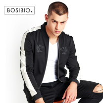 Jacket Bosibio / bosbio Fashion City Black grey M L XL 2XL 3XL 4XL thin Self cultivation Other leisure autumn Polyamide fiber (nylon) 100% Short sleeve Wear out stand collar Simplicity in Europe and America youth short Zipper placket Rib hem washing Closing sleeve Geometric pattern Seldingham