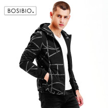 Jacket Bosibio / bosbio Fashion City black M L XL 2XL 3XL 4XL thin Self cultivation Other leisure autumn Polyamide fiber (nylon) 91.1% polyurethane elastic fiber (spandex) 8.9% Long sleeves Wear out Hood Simplicity in Europe and America youth short Zipper placket Rubber band hem No iron treatment