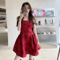 Dress Summer 2021 Retro Red S,M,L Short skirt singleton  Sleeveless commute High waist Solid color Socket 18-24 years old