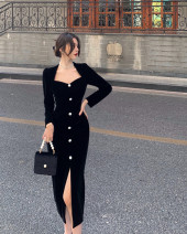 Dress Spring 2021 black S, M Mid length dress singleton  Long sleeves commute 18-24 years old Korean version 31% (inclusive) - 50% (inclusive) other